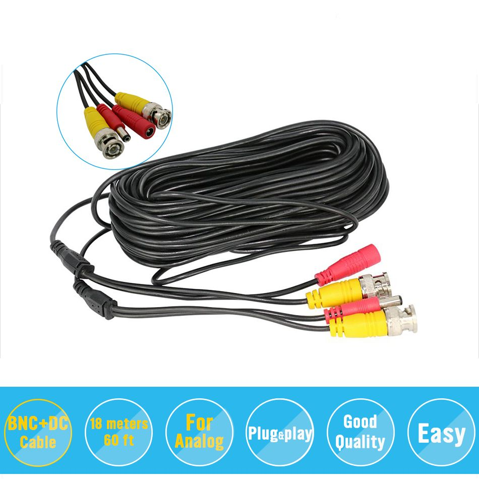 BNC Video Power Siamese Cable 59ft 18m for Analog AHD CVI CCTV Surveillance Camera DVR Kit