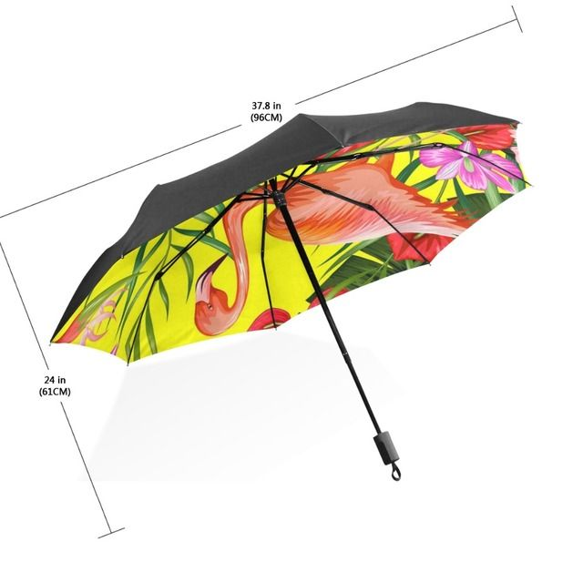 Women Sunny Rain Umbrella Tropical Style Colorful Flamingo Leaves Parasol Windproof Anti-UV Folding Rain Gear/Umbrella Parapluie