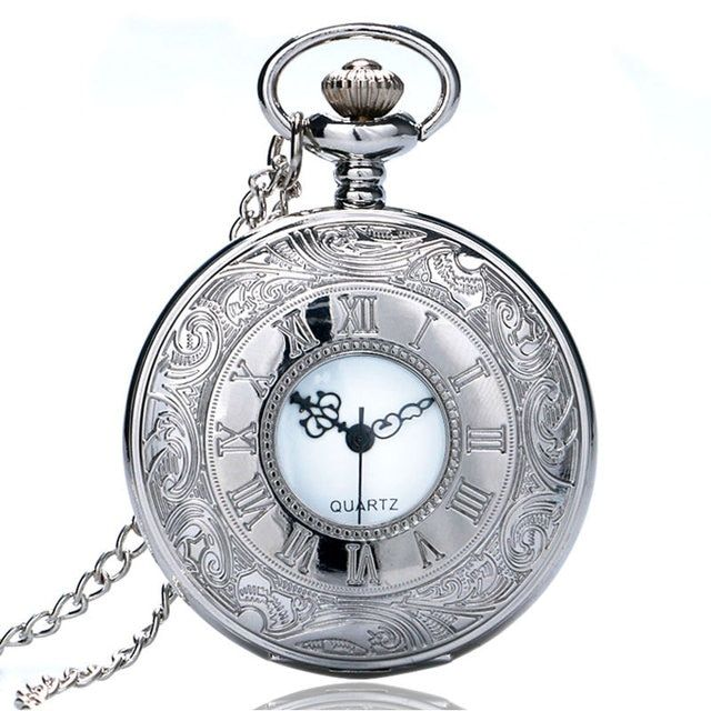 Pocketwatch Silver Color Pocket Watch Roman Numbers Quartz Watch with Necklace Pendant Timepieces