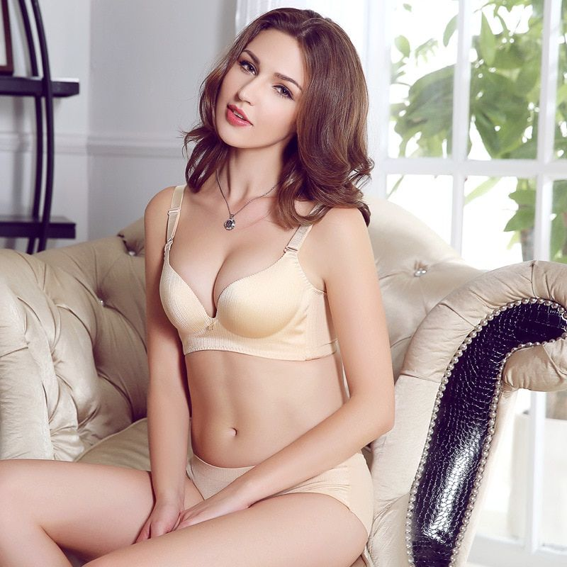 Gather side comfortable close without rims bra brassiere thickness