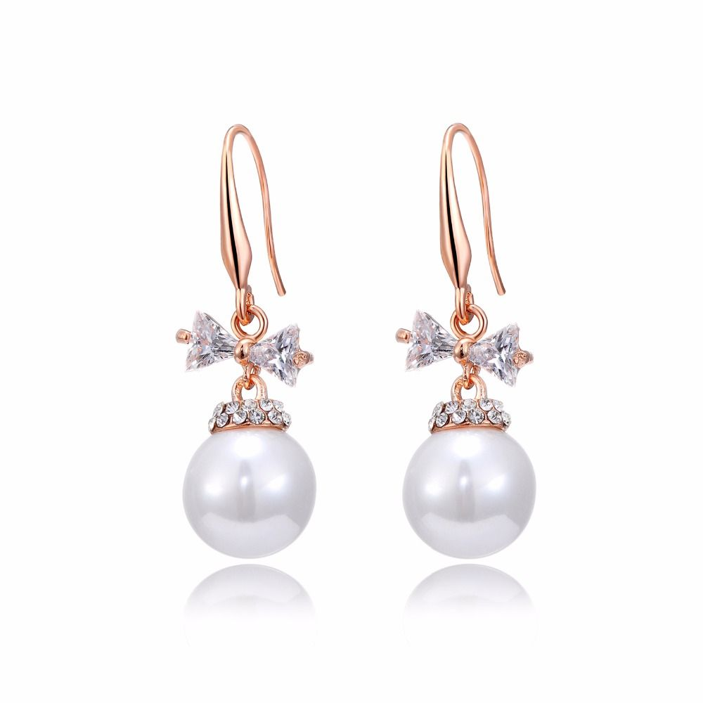 DROLE New Fashion Imitation Pearl Earrings Zircon Bowknot Rose Gold Color Drop Earrings Charm Women Jewelry Gifts