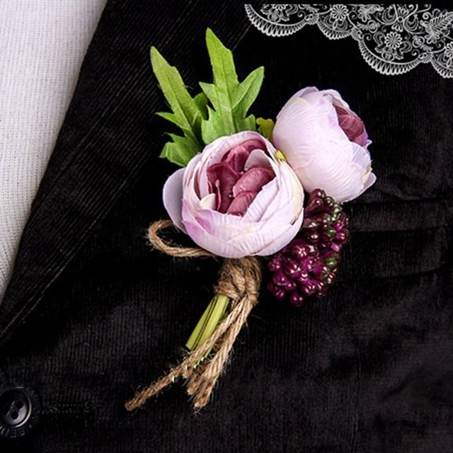 New Arrival Vintage Groom Groomsman Boutonniere Corsage Wedding Party Decorative Silk Flowers Brooch Pin