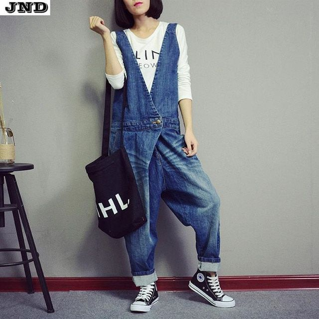 Free Shipping 2017 New Fashion Ladies Overalls Harem Pants High Quality Denim Jeans Loose Jumpsuits And Rompers Plus Size