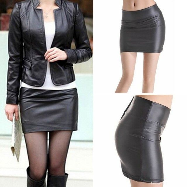Women Sexy Bodycon Mini Skirt Faux Leather Zip High Wasit Mini Short Skirt S-3XL