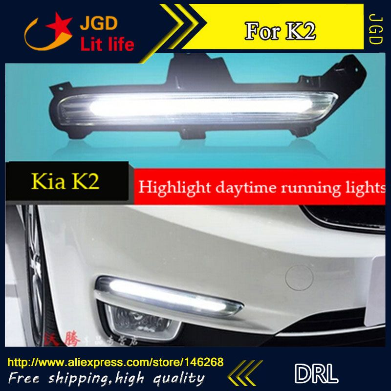 Free shipping ! 12V 6000k LED DRL Daytime running light for KIA RIO K2 2015 Fog lamp frame Fog light