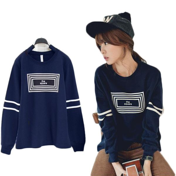 Womens Crewneck Fleece Pullover Geometry Pattern Shirts Tops Sweatshirt