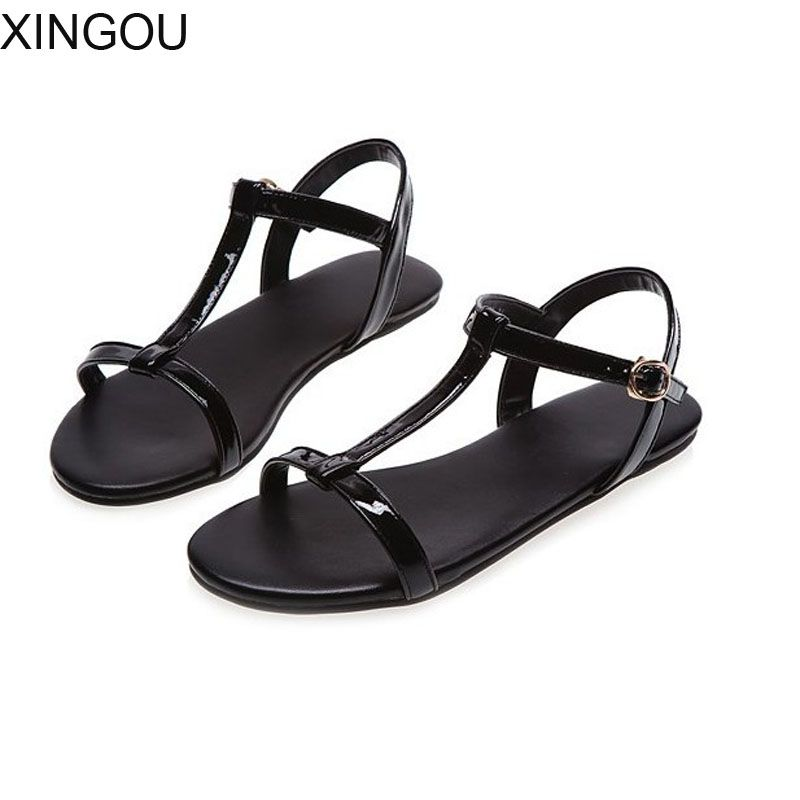 New PU women sandals Concise fashion 2018 flat women's sandals Buckle lady sandals Patent Leather plus size summer shoes women