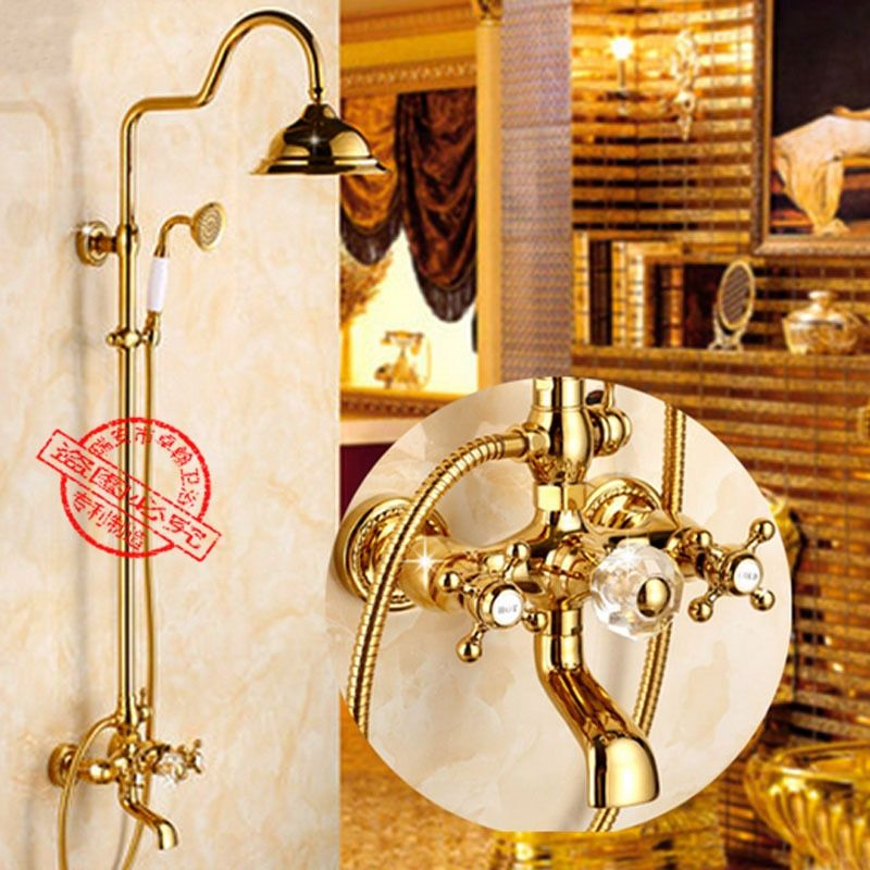 Brass Gold Shower Set Bathtub Shower Faucets Dual Handle Rainfall Round Shower Head Wall Mounted Ceramic Shower Set