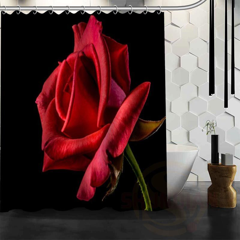 Best Nice Custom Red Roses Flower Shower Curtain Bath Curtain Waterproof Fabric For Bathroom MORE SIZE WJY#32