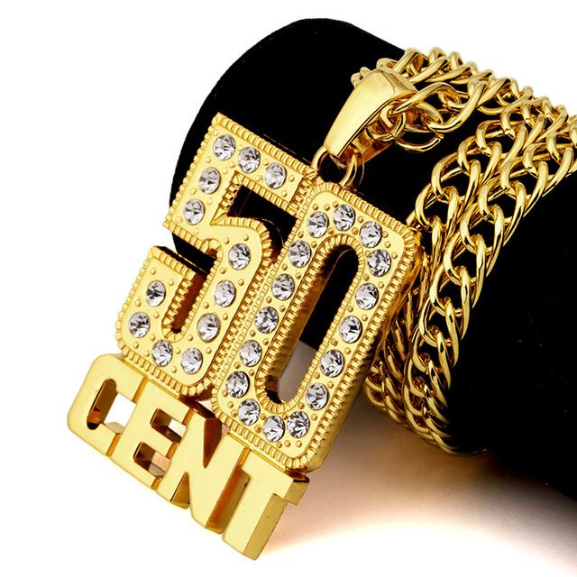 Men hip-hop 50 cents pendant necklace rhinestone pendant necklace  gold color