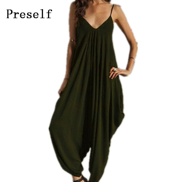 Preself Jumpsuits Women's Harem Romper Jumpsuit Coveralls Playsuit Spaghetti Strap Sexy Deep V Neck Loose Pants Plus Size Colors