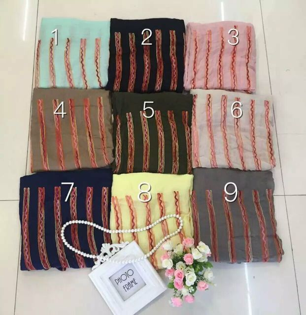 2016 Women Geometry Embroidery Scarf Cotton Scarf 9Colors 10pcs/Lot