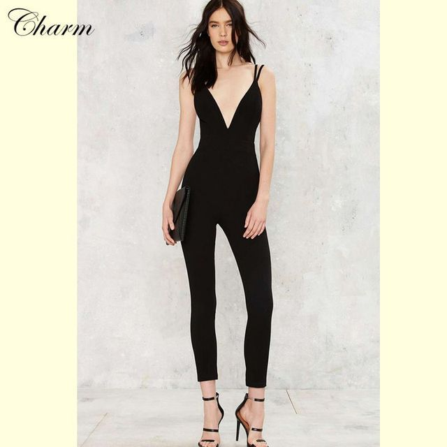 2017 summer new black gray spaghetti strap deep V neck modern chic women jumpsuit full lenght sexy ladies bandage jumpsuits