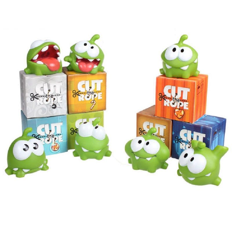 Skyleshine 7Pcs A lot Wholeset 7cm Cut The Rope Action Figure Toys Genuine Om Nom Dolls With Sound Kawaii Monster#ML253