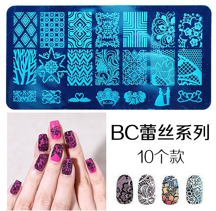 MANZILIN mp0009 Rectangular Nail Stamping Plates Flower Lace Design Nail Art Polish Stamp Template Manicure Tools 20 designs
