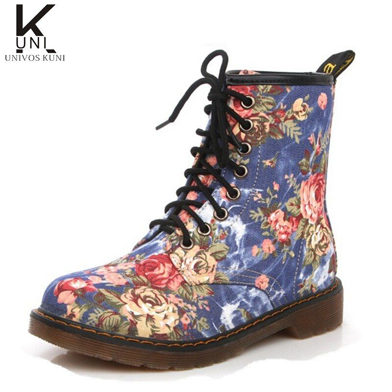 Boots Woman 2016 Women's Motorcycle Boots Ankle Flower Print Lace Up Spring Shoes Vintage England Style Botas femininas DX719