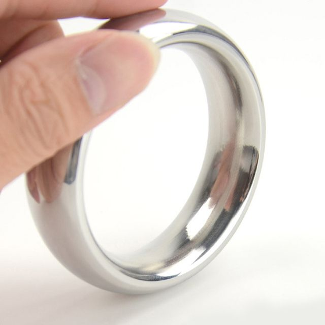 D: 40/45/50mm metal cockring 304 stainless steel cock ring adult sex toys for men on the dick heavy smooth male penis ball rings