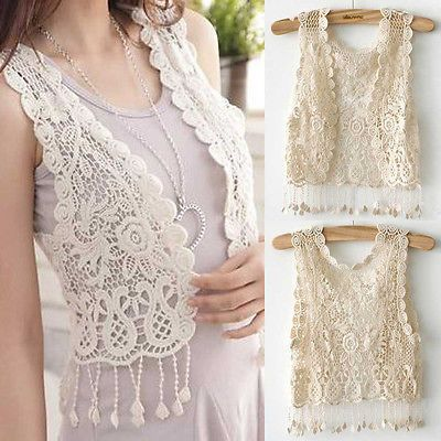 Ladies Casual Vests Womens Crochet Tassel Hollow out Gilet Waistcoat Cardigan Beige