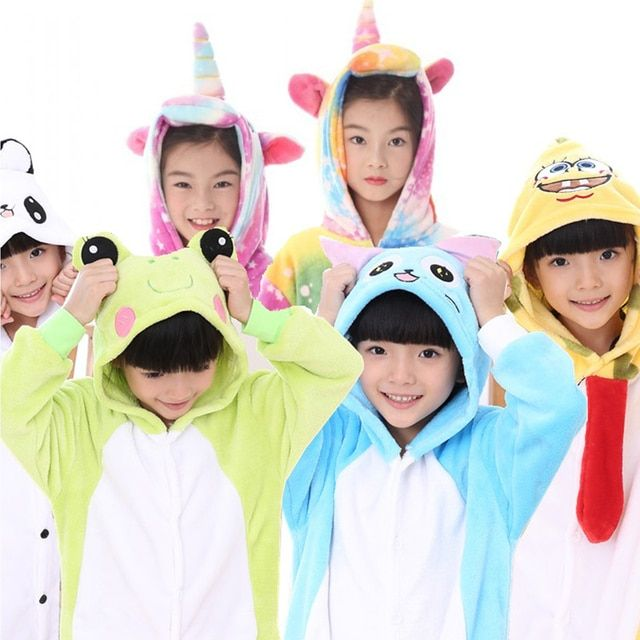 Girls Boys Pajamas Sets Unicorn Stitch Panda Baby Onesie Sleepwear Children Cosplay Animal Onesies for Kids Comic Hooded Pajama