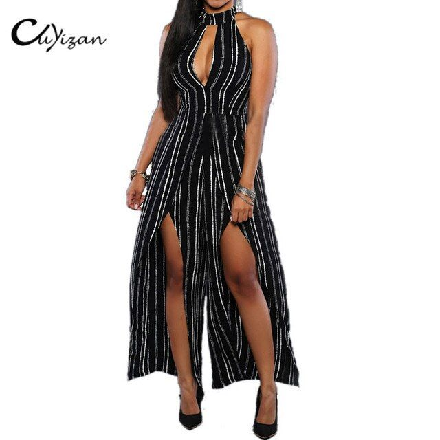 CUYIZAN 2017 women summer off shoulder jumpsuit Striped Turtle-Neck sleeveless Rompers Playsuits womens backless Split Jumpsuit