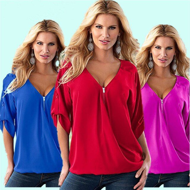 Fashion Women's V Neck terylene autumn Chiffon Blouses Casual Lotus leaf in the sleeve Top 8 size 13 kinds of color