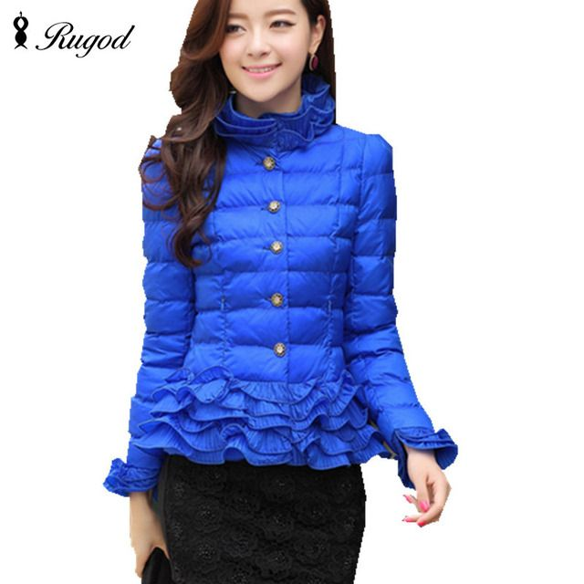 New Short Womens Coat Fashion Autumn Winter Female Thick Down Jacket Women Parkas Casual Slim Ruffles Jackets Parka Plus Size