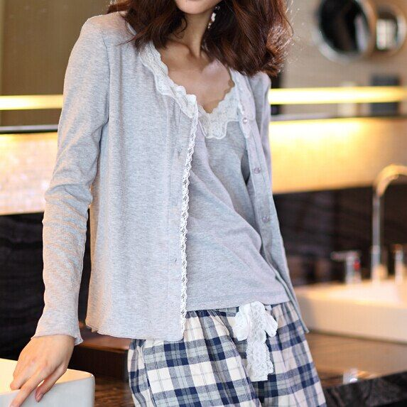 high quality  Female 3 pcs/set long sleeve plaid pants cotton lace strap cotton sleepwear home clothes VS pijama set