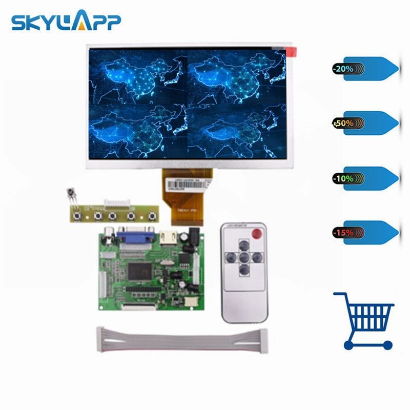 Skylarpu 7''inch LCD Display Screen 800*480 TFT Monitor for AT070TN90 HDMI VGA Input Driver Board Controller for Raspberry