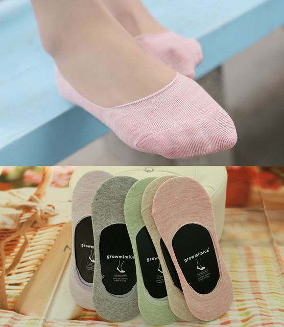 5 color Women Solid Ice Cream color cotton Silicone Antislip Summer Breathable knit Invisible Boat Ankle Socks 6 pairs 1 lot