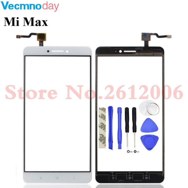 Vecmnoday 6.44inch Front Glass Touchscreen For Xiaomi Mi Max Xiaomi Max Touch Screen Sensor Panel Digitizer Free Shipping+Tape