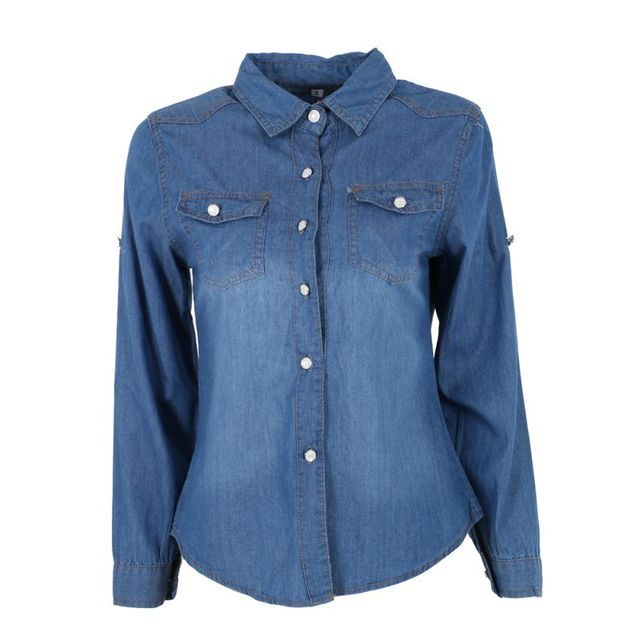 Women Lapel Button Blue Down Denim Jean Shirt Pocket Slim Top  Coat Hot