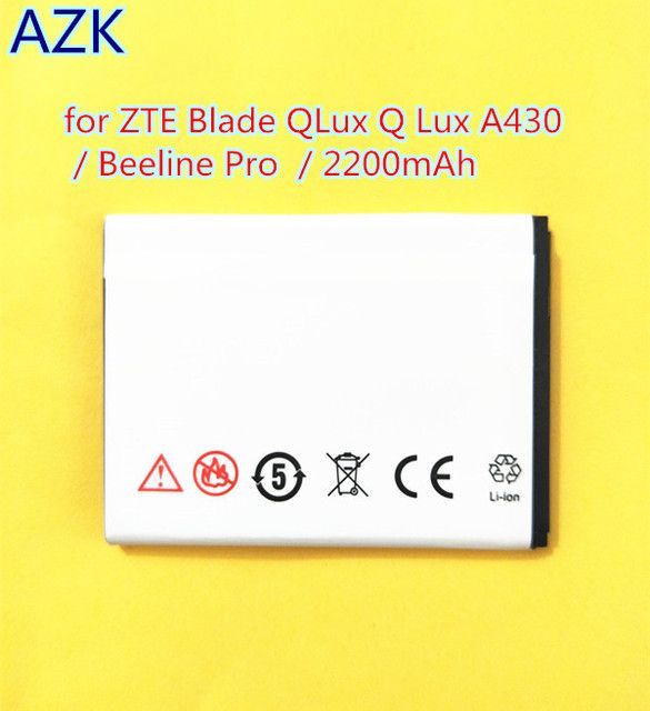 AZK New 3.8V 2200mAh Li3822T43P3h675053 battery for ZTE Blade QLux Q Lux A430 Q Lux 3g 4g Beeline Pro Battery+free shipping