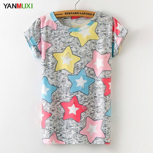 2017 New T Shirt Women Summer Casual Basic Top Stars Printed Female T-shirt Cotton Blusas Short Sleeves Hole Women Tops