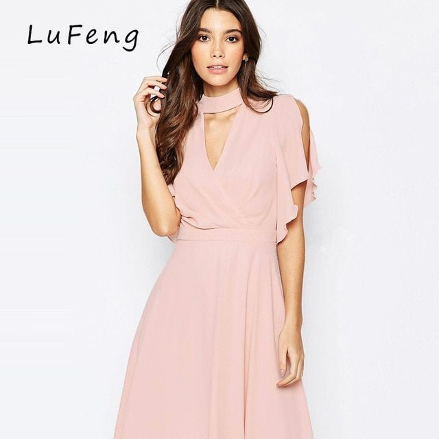 Pink Chiffon Dress Women Clothing Runway 2017 Summer V Neck Pink Evening Party Vestidos Beachwear Office Robe Femme H766-1214