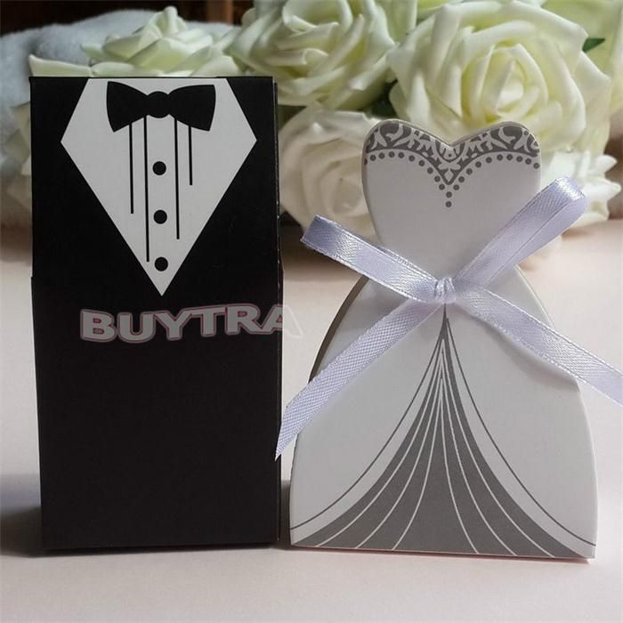 100Pcs Candy Box Bridal Gift Cases Groom Tuxedo Dress Gown Ribbon Wedding Favors Sugar Case Wedding Decoration mariage casamento