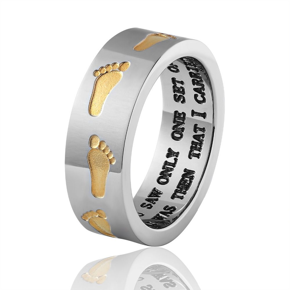 New Memorial Love Footprints Ring Internal Letter Double Color Stainless Steel Men And Women Jewelry Ring Wholesale Fine Jewelry