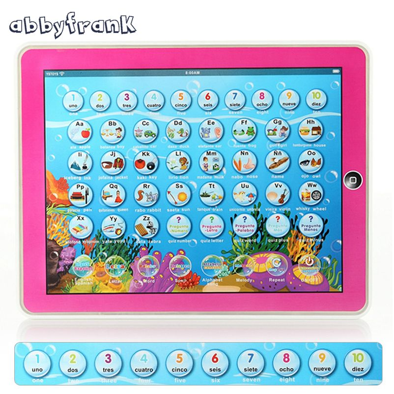 Abbyfrank English Spanish Language Pad Bilingual Educational Study Learning Machines Music Toys Multifunction Tablet Toy Y-pad