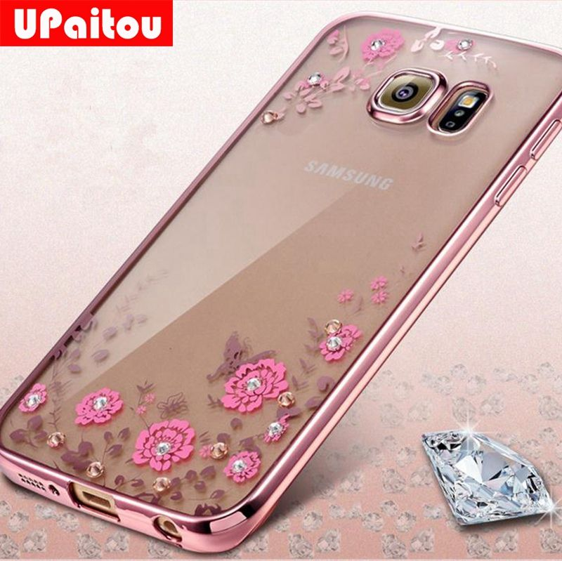 UPaitou Luxury Flower Diamond Soft TPU Case For Samsung Galaxy S8 Cases S7 S6 Edge S9 Plus Cover S3 S4 S5 Note 5 4 Silicone Case