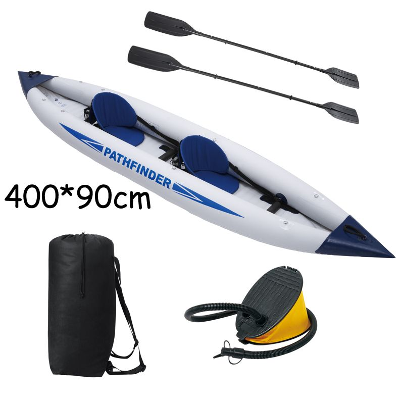 Hot Sale 2 person pathfinder canoe inflatable boat 400*90cm, include foot pump, plastic oars,2 seats. inflatable canoe A08002