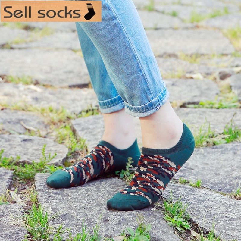 Clearance! brand new summer women Camouflage Invisible red green Casual  ankle cotton socks boat sock slippers harajuku EUR35-40