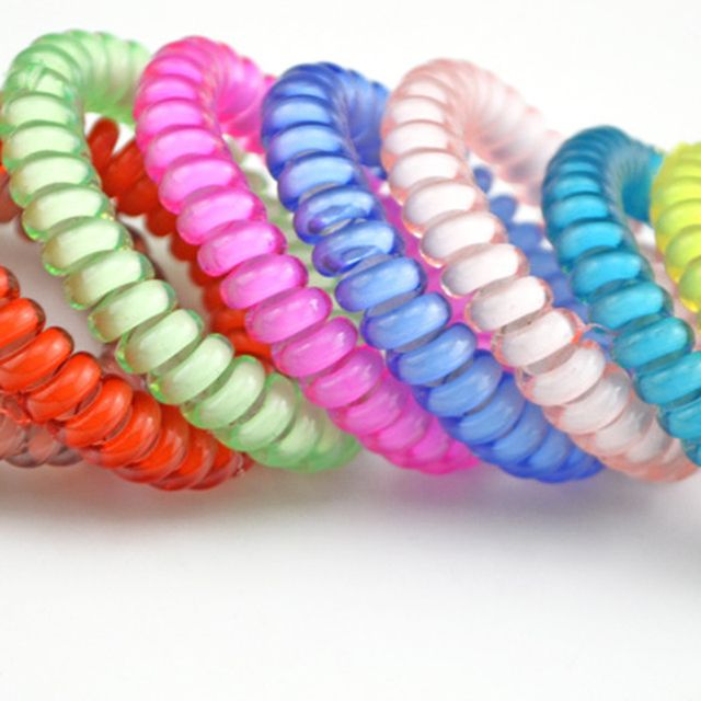 4.5CM Cute Candy Color Hair Jewelry Headbands Telephone Line Hair Rope for Women Girl Hair Band Lots 10pcs
