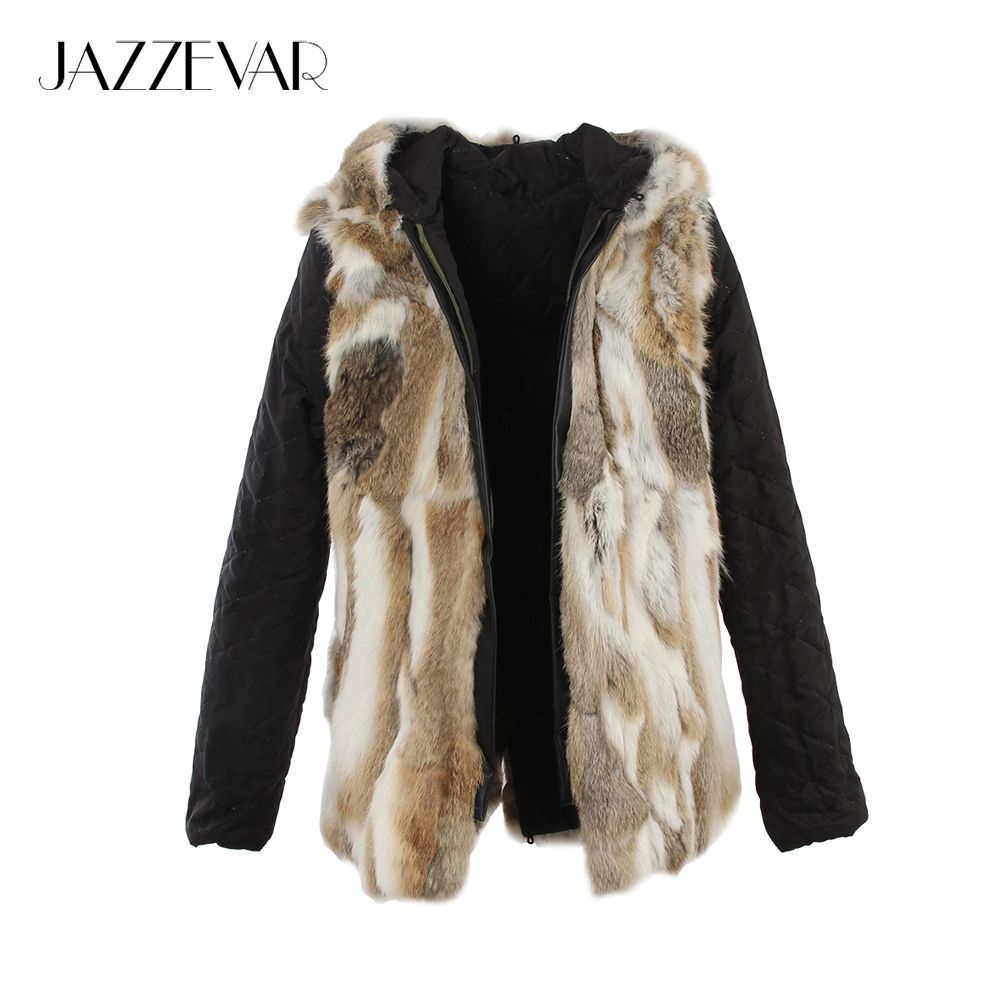 JAZZEVAR 2019 new fashion women's hooded real rabbit fur liner good quality