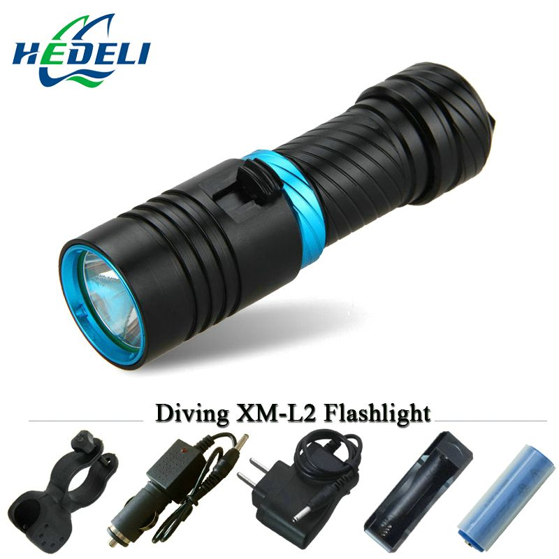 100M underwater diving flashlight led scuba flashlights light torch diver CREE XM-L2 Use 18650 OR 26650 rechargeable batteries