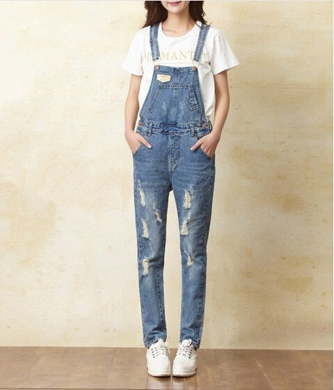 Womens Jumpsuit Denim Overalls 2016 Spring Autumn Casual Ripped Hole Loose Pants Ripped Pockets Jeans Coverall XS-XL