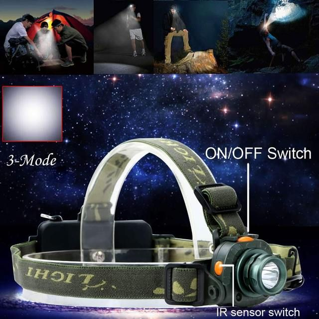 Super Bright Motion Sensing Headlamp Q5 2000LM LED Headlight Light Infrared Sensors AAA/18650 For Hunting Camping