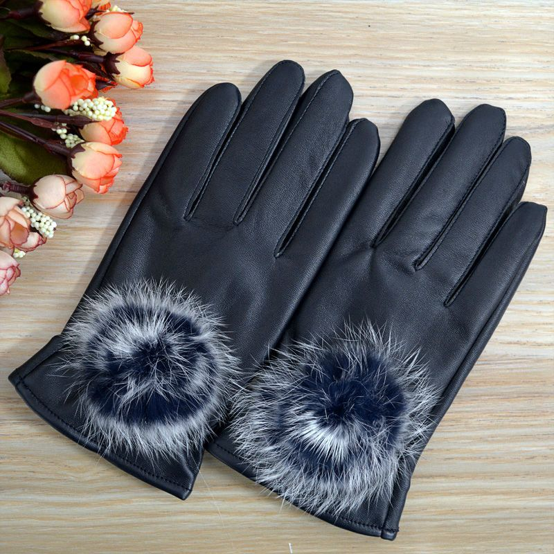 Leather Gloves Fashion Rabbit Fur Ball Pu Leather Gloves For Women Winter Gloves fur inside Lady's mittens high quality Gloves