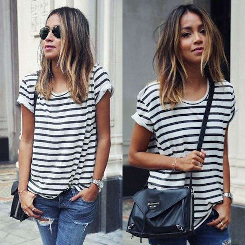 Plus Size Women Clothing Fashion Women's Loose Striped Summer Tops Batwing Short Sleeve T Shirt Casual Tee