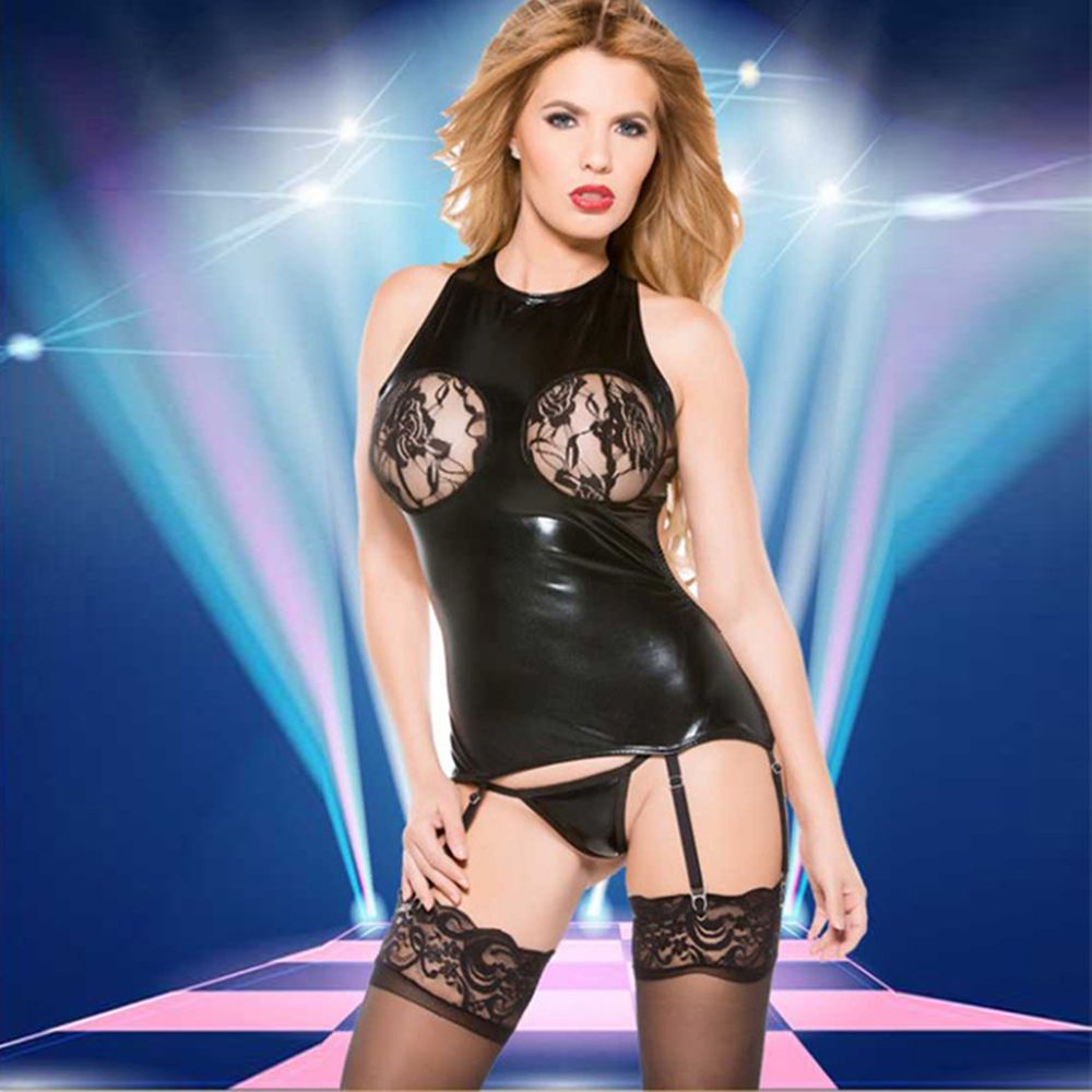Sexy One Piece Lingerie Women Bodysuits Black Faux Leather Jumpsuits Sexy Erotic Nightwear Lace Stiching Baby Dolls W880465