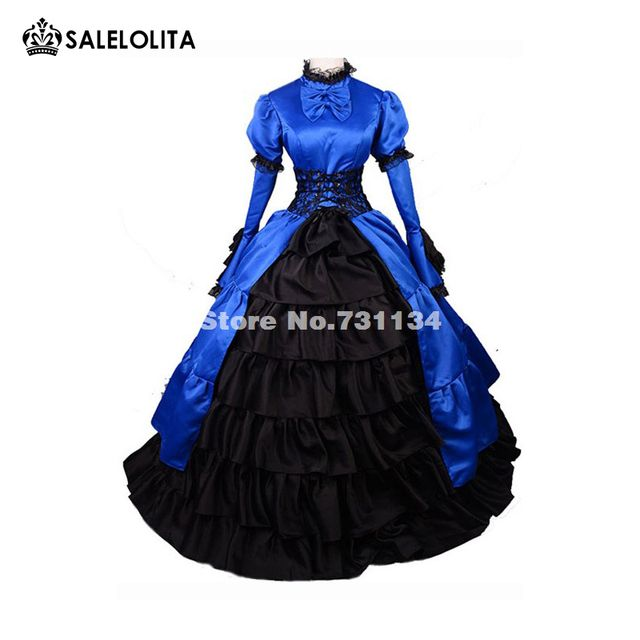 2019 Elegant Blue Long Sleeve Bow Gothic Victorian Dress Medieval Renaissance Southern Belle Victorian Ball Gown/Party Dress