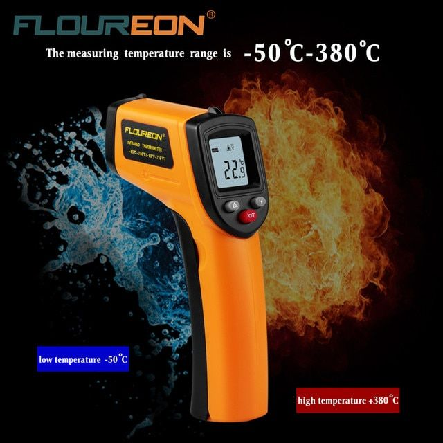 Floureon GM320 Laser LCD Digital IR Infrared Thermometer Professional Non-contact Temperature Meter Gun For Industry Home Use